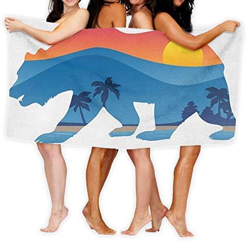 Toallas de playa, California Bear con montaña de gran tamaño de microfibra súper absorbente personalidad toalla de baño toalla de playa manta toallas 76x152cm