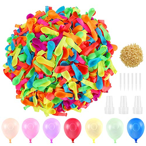 XDDIAS Water Balloons for Kids 1500Pcs Latex Water Bomb Balloons Quick Fill Self Sealing Sets for Fight Games Summer Splash Fun