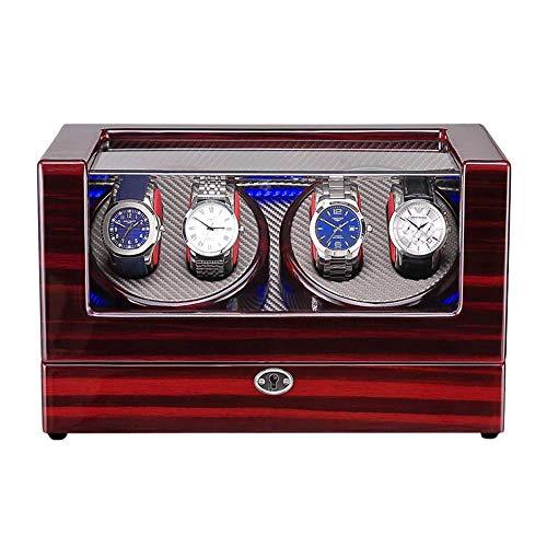 ZHENAO Reloj Caja de Winder para 4 Reloj Automático Disponente Led Luz de Madera Pantalón Pantalón Pintura Exterior Adaptador de Ca Y Batería Desarrollado Exclusivo/D