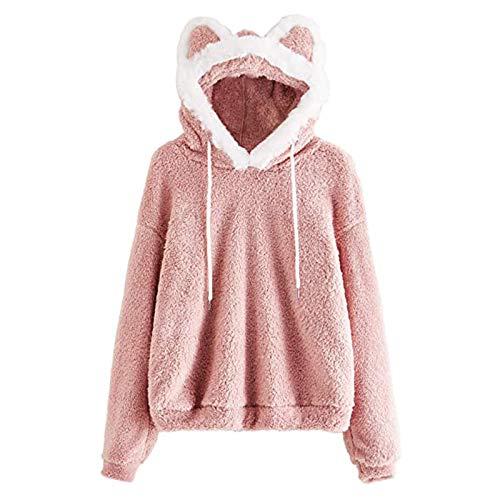 VESNIBA Sudadera de forro polar para mujer, con capucha, cordón ajustable, para deportes de ocio Rosa. Medium