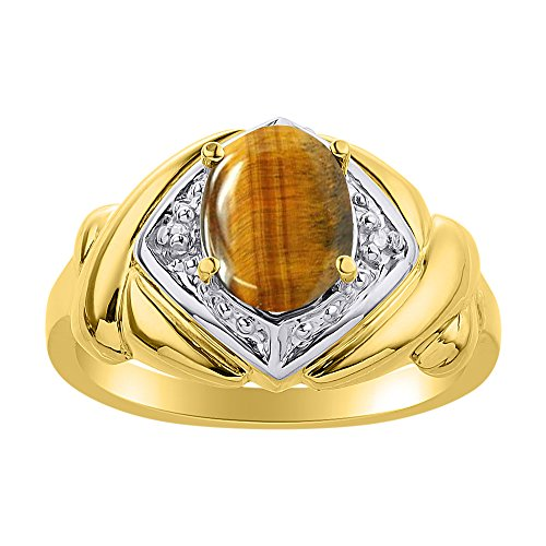 Juego de anillos de ojo de tigre de diamante y oro amarillo de 14 quilates – XO Hugs & Kisses – Anillo de piedra de nacimiento de color
