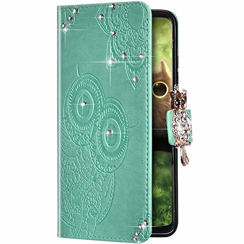 Uposao Kompatibel mit Samsung Galaxy S20 Ultra Hülle Leder Tasche Handyhülle Glitzer Strass Diamant Eule Mandala Blumen Muster Brieftasche Schutzhülle Flip Case Klapphülle Handytasche,Grün