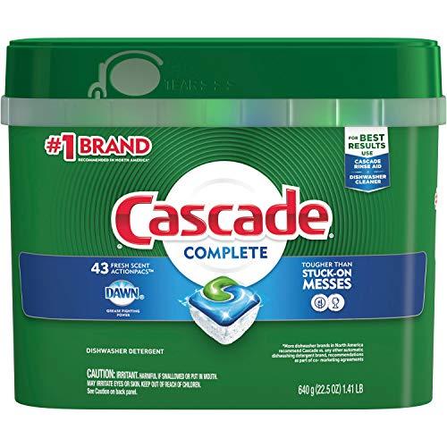 Cascade Complete Actionpacs, Dishwasher Detergent, Fresh Scent, 43 count