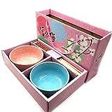 generisch Juego de vajilla para 2 Personas de Porcelana, 2 Cuencos para Sushi, Juego de Cuencos Redondos con Palillos, diseño japonés