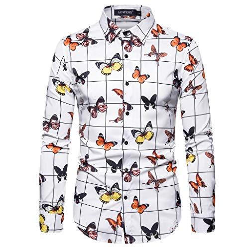 EVAEVA Herren Hemd Slim-Fit Langarm-Hemden Schmetterling Blume Drucken aus Cotton Polyester für Anzug, Business, Hochzeit, Freizeit Langarm Hemd für Männer