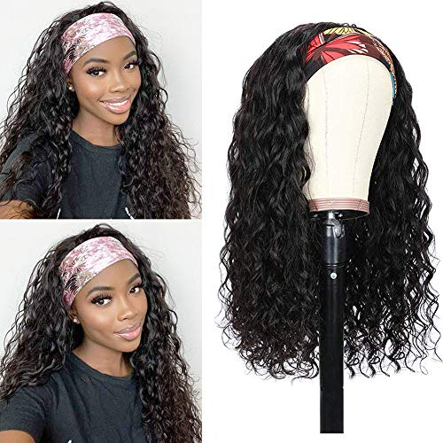 Headband Wig Water Wave None Lace Front Wigs Human Hair Brazilian Virgin Hair Glueless Machine Made Wet and Wavy Headband Wigs for Black Women Headband Wigs Natural Color 150% Density (14 Inch)