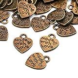150 unidades de colgantes de corazón antiguos hechos a mano con amor colgantes hechos a mano con botones de metal hechos a mano hechos a mano artesanalmente
