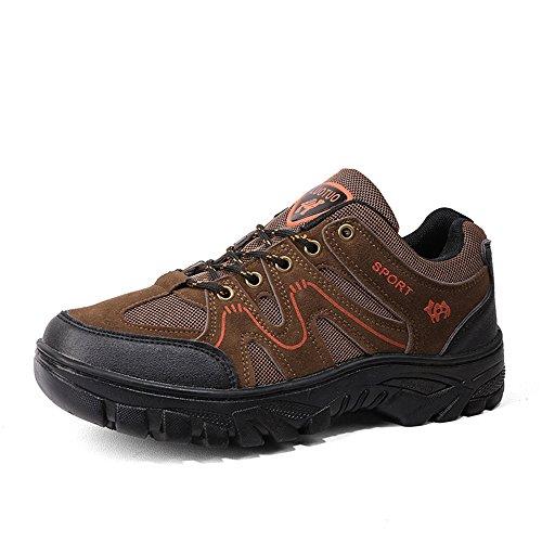WYFC Chaussures De Marche pour Hommes Chaussures De Randonnée Confortables Chaussures De Course, Non-Slip Trekking Chaussures Légères Chaussures De Plein Air pour Sport, Tranining, Escalade,Brown,42