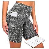 ShyaWorld Mallas Leggins Mujer Deportivos Fitness Pantalones Yoga de Alta Cintura Elásticos y Transpirables para Yoga Running (CON BOLSILLO GRIS CORTO, M)
