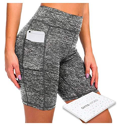 ShyaWorld Mallas Leggins Mujer Deportivos Fitness Pantalones Yoga de Alta Cintura Elásticos y Transpirables para Yoga Running (CON BOLSILLO GRIS CORTO, S)