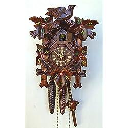 Schneider 9 Inch Quartz Handpainted Flowers Black Forest Cuckoo Clock