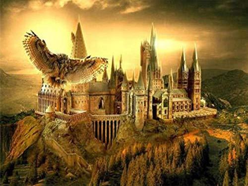 Bordado De Diamante Redondo Castillo De Harry Potter 5D Pintura Diamante Bricolaje Punto De Cruz Patrón Mosaico Regalos