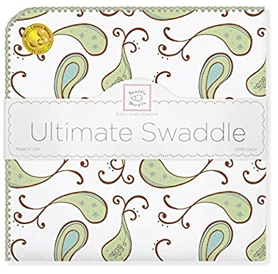 SwaddleDesigns Ultimate Winter Swaddle, X-Large Receiving Blanket, Made in USA, Premium Cotton Flannel, Kiwi Paisley (Mom's Choice Award Winner)