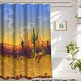 Cortina de la Ducha Cactus Shower Curtain Bathroom Shower Curtain, Barren Landscape on The Desert, Premium Polyester Waterproof Cactus Shower Curtain, 72x72 in,Yellow Blue