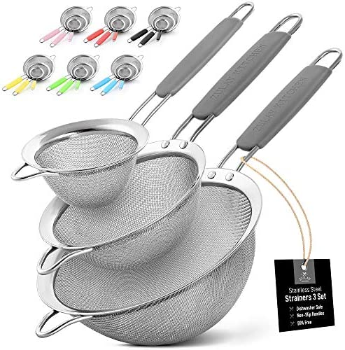Zulay Set of 3 Stainless Steel Mesh Strainer Strainers Fine Mesh Wire Sieve with Non Slip Handles product image
