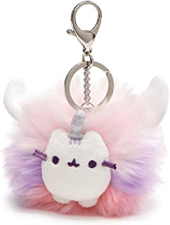GUND Pusheen Super Pusheenicorn Unicorn Cat Plush Pom Deluxe Keychain, Multicolor, 4
