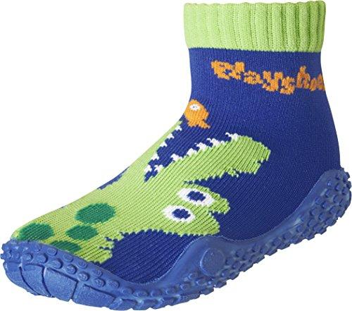 Playshoes Unisex-Kinder Aquasocke Krokodil Badeschuhe, Blau (Marine), 18/19 EU