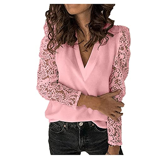 N\P Camisetas de mujer Casual Color sólido Encaje Tops manga larga gasa