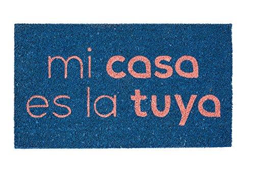 Fisura DM0339 Felpudo Divertido Entrada Mi Casa es la Tuya 40x70cm Azul y Rojo Original TV Bertin Osborne