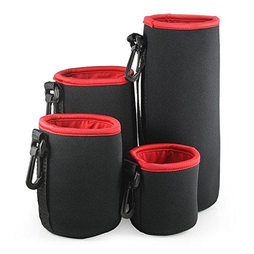 belmalia 4Lente de bolsillos Juego de neopreno Tamaño S + M + L + XL, impermeable, protección perfecta para sus objetivos, negro rojo