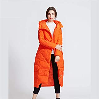 Winter Women's New Down Jacket with Hooded, Solid Color White Duck Down Coat Simple Fashion Zipper Jacket,Orange,L