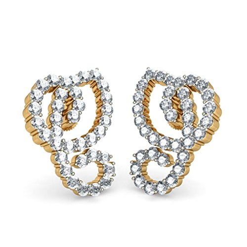 18K amarillo oro 1,8quilates white-diamond (IJ | si) Stud Pendientes