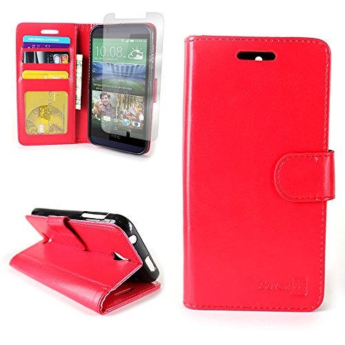 CoverON for HTC Desire 510 Wallet Case [Carryall Executive Series] Synthetic Leather Flip Credit Card Phone Cover Pouch + Screen Protector - Red
