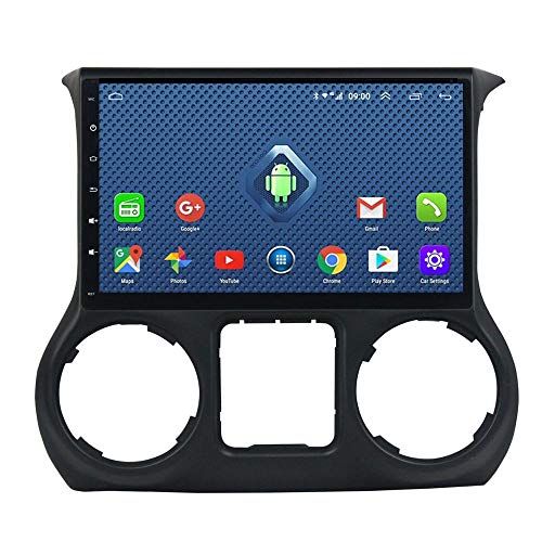 Foof Autoradio Coche Bluetooth 2 DIN Android Radio De Coche para Jeep Wrangler 3 JK 10.1'' Pantalla Táctil WiFi Plug and Play Completo RCA SWC Soporte Carautoplay/GPS/Dab+/OBDII,Type a,4G WiFi 2G+32G