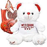 Funny Valentines Day Gift Teddy Bear Chocolates Gift Bag Plush Girlfriend Boyfriend Galentines Husband Wife (Id Shank)