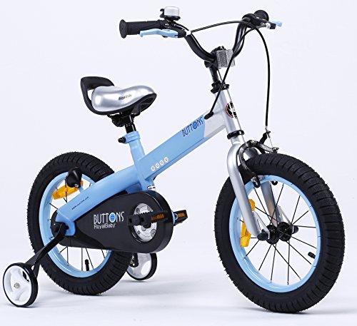 Royalbaby Unisex Youth Button girl's boy's freestyle Kids Bike Bicycle, matt-Blue, 12'