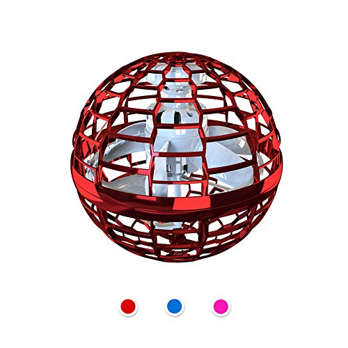 Aiboria Flynova Pro - Juguete volador de Bumerang con trucos interminables, juguete volador, manos libres, helicóptero con luces dinámicas para niños y amigos, color rojo