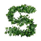 KoelrMsd Hojas de ratán Artificiales Vides de Flores Artificiales Vid Decorativa Rábano Verde Hojas de Parra trepadoras Ivy