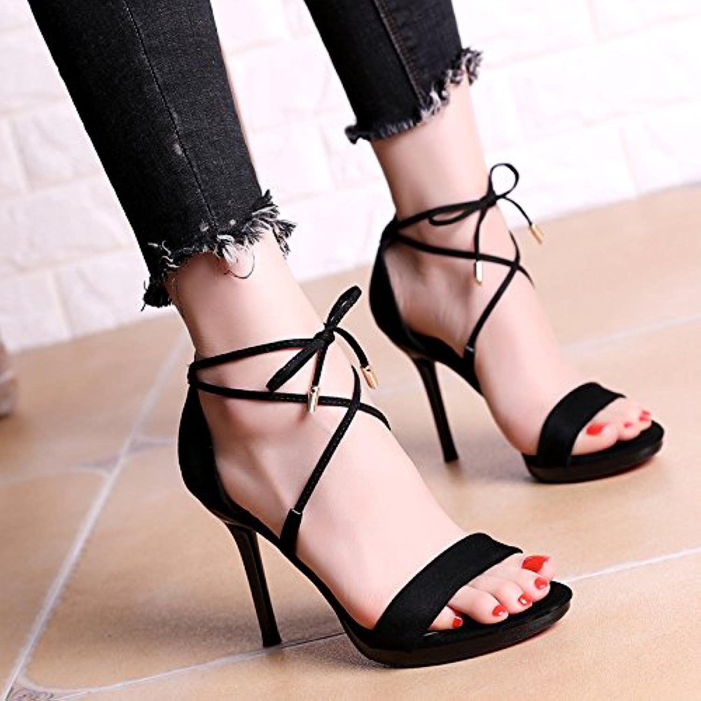 YMFIE Damen Sommer Sexy Kreuzgurt High Heel Open-Toe Sandalen Stiletto Mode Temperament Elegante High Heels