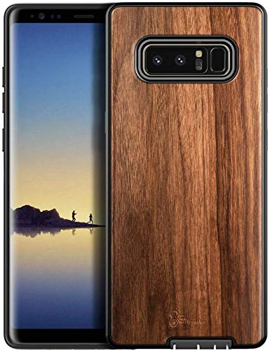 E-Began Case for Samsung Galaxy Note 8, [Real Natural Walnut Wood], Dual Layer Hybrid Protective Bumper Shockproof Phone Case (Every Piece is Unique) -Wood