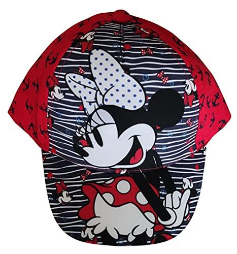 Minnie Maus Kappe Base Cap Mütze Sonnenhut mit Motiv Minnie mit Schleife, Wellen und Anker für Kinder, Mädchen und Jungen (Rot, 50)
