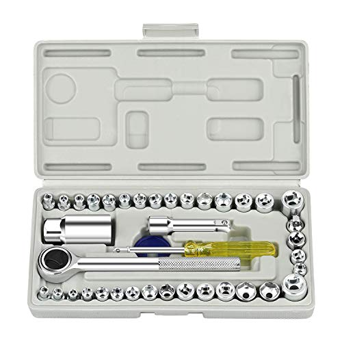 Xpassion 40-teiliges Ratschenschlüssel-Set – metrisches und standardmäßiges 6-Punkt-Innensechskant-Steckschlüssel-Set mit Kombinationsdrehmoment und isolierten Griffen