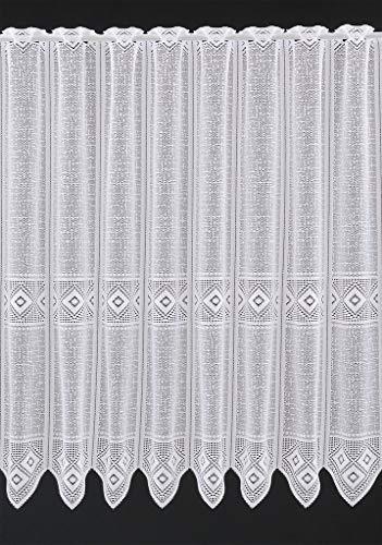 Scheibengardine grafisch 90 cm hoch   Breite der Gardine durch gekaufte Menge in 30 cm Schritten wählbar (Anfertigung nach Maß)   Weiß   Vorhang Küche Wohnzimmer