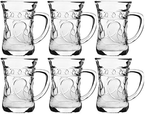 My-goodbuy24 Hochwertige Türkische Teegläser aus Kristallglas - 150ml - 6-teiliges Set - 9,5 x 9 x 6 cm - geliefert in edler Geschenkbox - Orientalisches Teeglas - mit Henkel