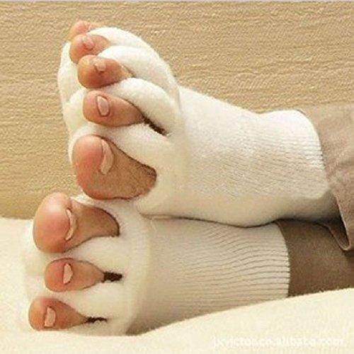 Malloom® nuevo dedos del pie alineación hombres mujeres calcetines de algodón. Tendón de estiramiento aliviar el dolor.