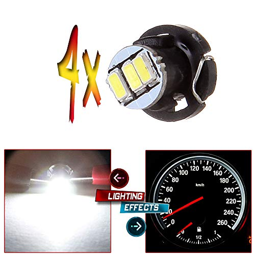 cciyu 4 Pack White T4/T4.2 Neo Wedge 3-3014SMD HVAC Climate Control Light Instrument Panel Gauge Cluster Dashboard LED Bulb