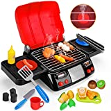 Kids Play Food Grill with Pretend Smoke Sound Light Kitchen Playset Pretend BBQ Accessories Fine Motor Skills Toy Cooking Birthday Gift Outdoor Toys for Toddlers Children Boys Girls