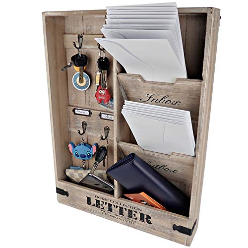 25DOL Rustic Mail Organizer Wall Mount and Key Holder for Wall, Home Office Organization. 19 x 14 Inch Entryway Organizer. Distressed Wood Mail Sorter Letter Holder. Wall Mounted with Hooks.
