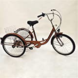 Triciclo para adultos, 24 pulgadas, triciclo para adultos, 6 velocidades, bicicleta para adultos, 3 ruedas para adultos, triciclo cargo con cesta de la compra, triciclo senior (dorado)