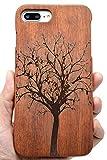 RoseFlower Coque iPhone 7 / iPhone 8 4.7'' en Bois Véritable - Sapin de Noël de...