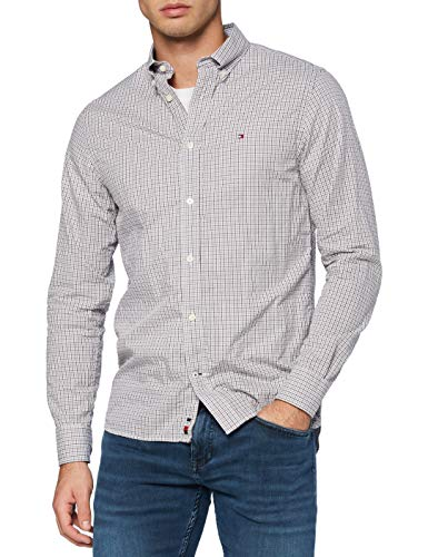 Photo of Tommy Hilfiger Men's Twill Check Shirt, Grey Heather/Deep Rouge/White, S