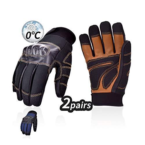 Vgo. 2 paar winter-touchscreen-handschoenen, ademend, voor auto, motorfiets, scooter, motorcross, vecht, camping, wandelen (zwart, GA5172FW)