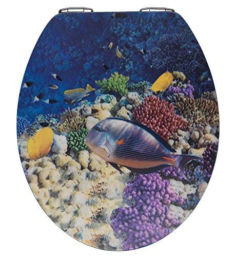 WENKO WC-Sitz Fish mit 3D-Effekt - Toiletten-Sitz mit Absenkautomatik, 38 x 44,5 cm, mehrfarbig, MDF