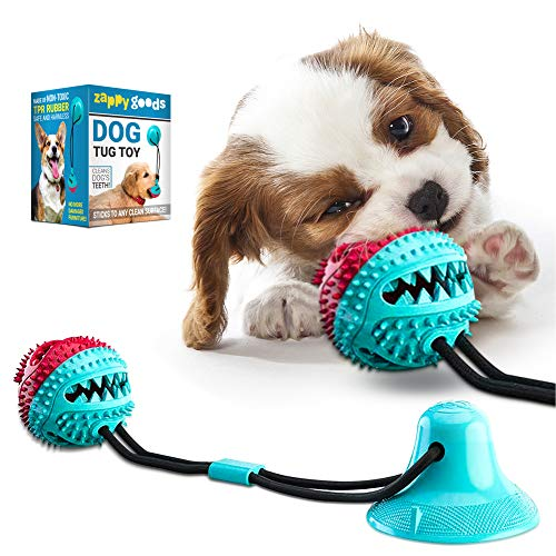 Zappy Goods Tug of War Dog Toy, Resistant Dog Tug Toy for Chewing, Tugging and Teeth Cleaning, Tug Toy for Dogs Dental Care, Puppy Tug Toy is Harmless and Safe, Food Dispensing Tug Toy
