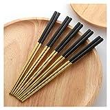 Palillos 5 pares de palillos de acero inoxidable Titanize Chinese Chopsitcks Set Black Metal Chop Sticks Set usado para la vajilla de sushi palillos chinos principiantes ( Color : Gold And Black )
