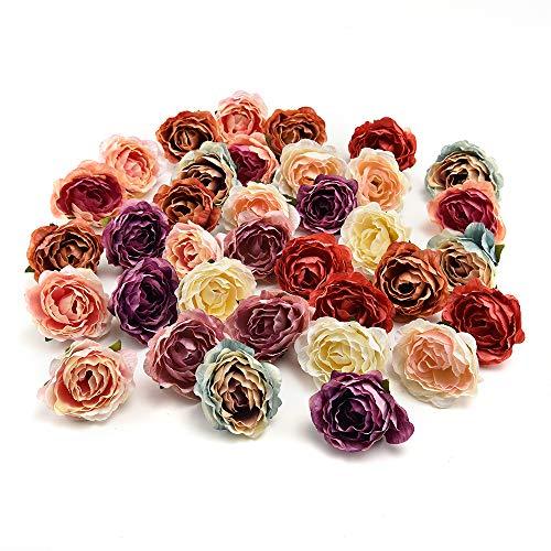 AZXU Seidenblumen in Loser Schüttung Großhandel Seide Kirschblüten Kleine Künstliche Rosenblüten Köpfe Mohn Kranz Hochzeitsdekoration Scrapbooking 25 Teile/los 4 cm (Multicolor Random)